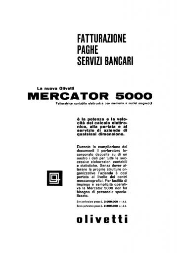 Pubblicità Mercator 5000 1961