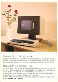 Cartolina pubblicitaria computer TOBIA